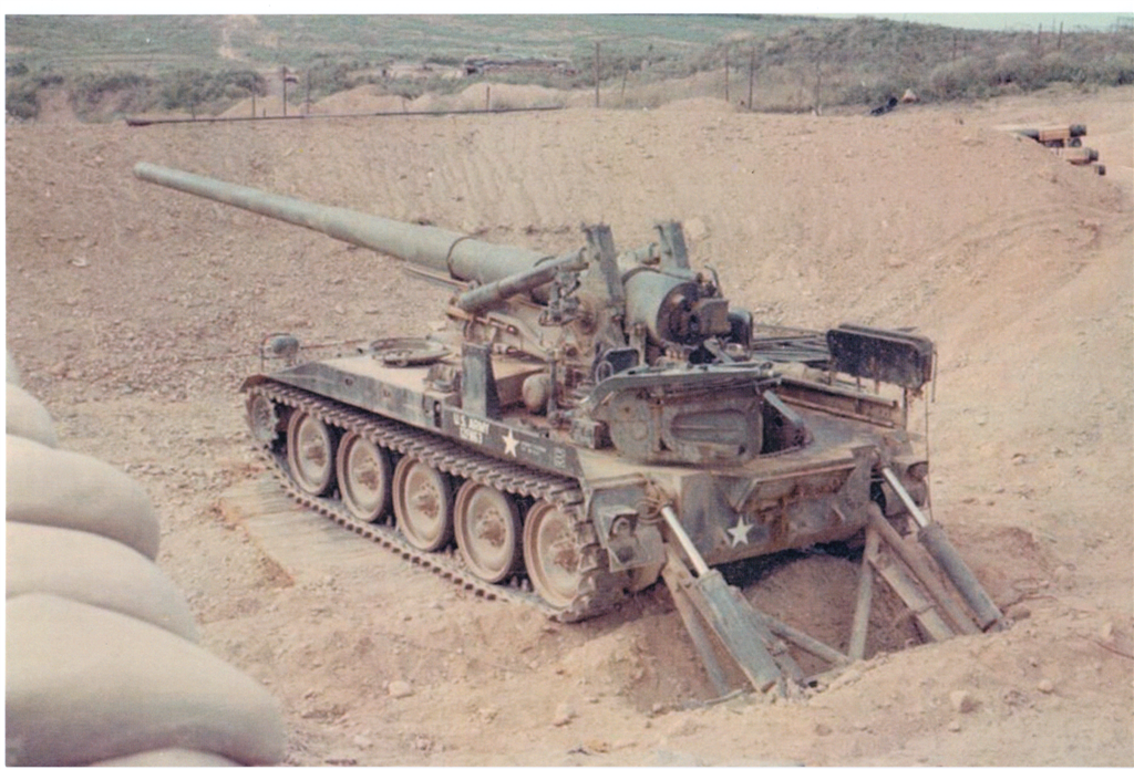 "A 175 MM gun on ""The Rock-Pile""."