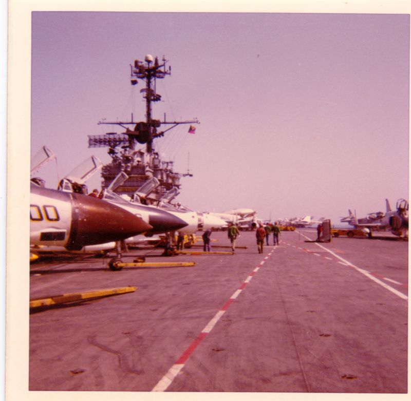 Looking at the flight deck from the front of the USS Ranger. Commissioned in 1957, she served extensively in the Pacific, especially the Vietnam War, for which she earned 13 battle stars.
