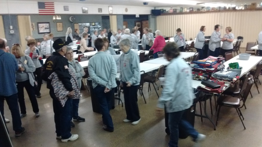 Here's many of the women quilters enjoying refreshments and conversations at the American Legion after the presentations.