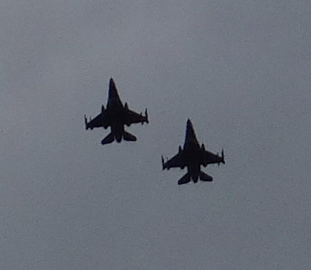 Flyover of 2 F-16 fighter jets